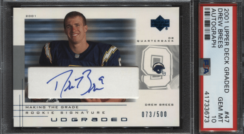 Drew Brees rookie card 2001 Upper Deck