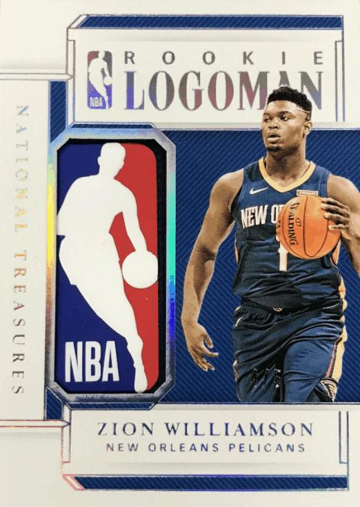 zion williamson national treasures card LOGOMAN