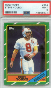 steve young most valuable football cards of the 1980s