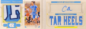 national treasures cole anthony rookie card